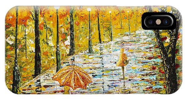 Rainy Autumn Beauty Original Palette Knife Painting IPhone Case