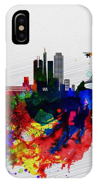 San Francisco iPhone Case -  San Francisco Watercolor Skyline 1 by Naxart Studio