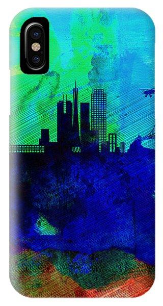 San Francisco iPhone Case -  San Francisco Watercolor Skyline 2 by Naxart Studio