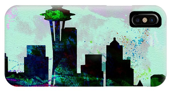 Seattle Skyline iPhone Case -  Seattle City Skyline by Naxart Studio