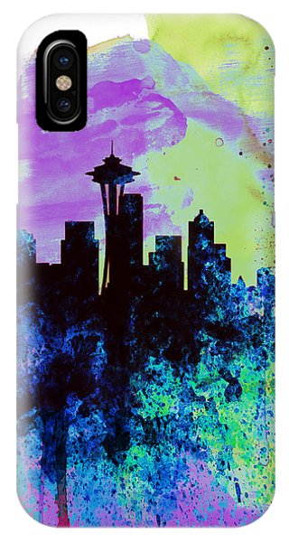 Seattle Skyline iPhone Case -  Seattle Watercolor Skyline 1 by Naxart Studio