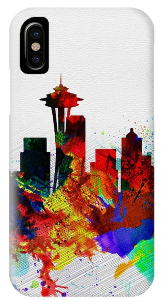 Seattle Skyline iPhone Case -  Seattle Watercolor Skyline 2 by Naxart Studio