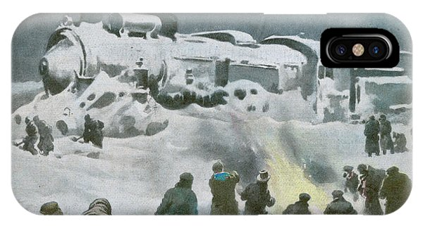 Snow Halts The Train On The Phone Case by Mary Evans Picture Library