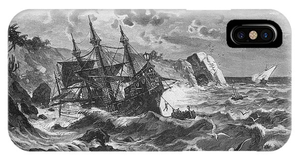 The Wreck Of The Caravel  'santa Phone Case by Mary Evans Picture Library