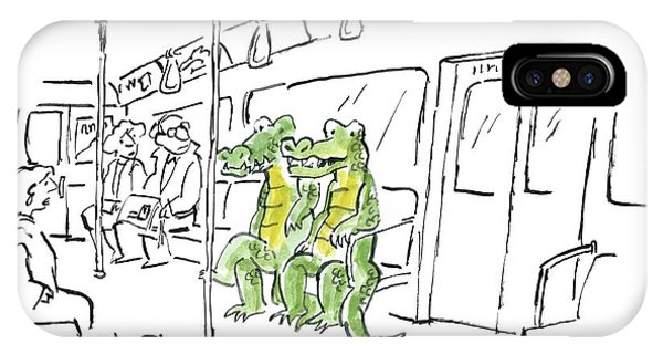 Crocodile iPhone Case -  Two Alligators Ride The Subway by Sidney Harris