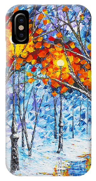 Silence Winter Night Light Reflections Original Palette Knife Painting IPhone Case