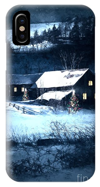 Snow Scene Of A Farmhouse At Night/ Digital Painting IPhone Case