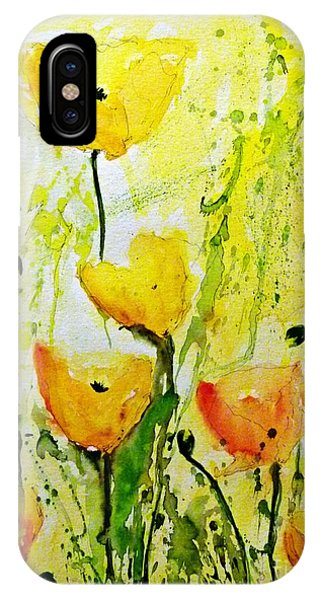 Yellow Poppy 2 - Abstract Floral Painting IPhone Case