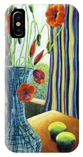 01295 Poppies And Limes IPhone Case