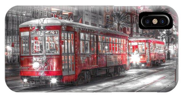 Trolley Car iPhone Case - 0271 New Orleans Street Car by Steve Sturgill