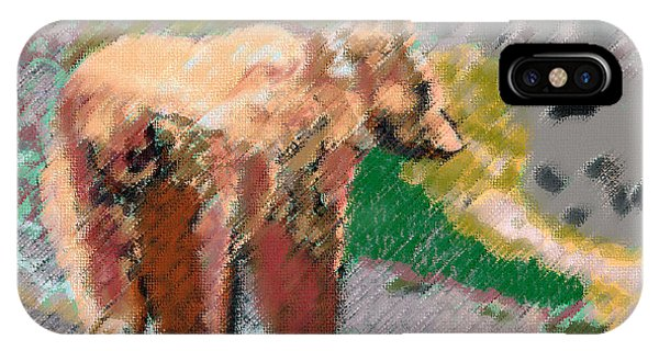 081914 Pastel Painting Grizzly Bear IPhone Case