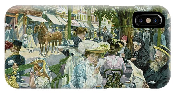 Wiese iPhone Case -  A Busy Time In The 'alte  Wiese' Cafe by Mary Evans Picture Library