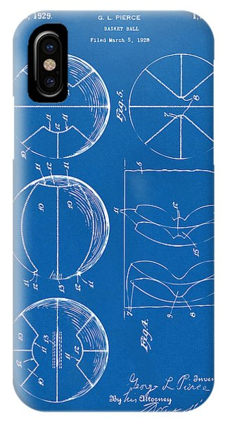 Patent Office iPhone Case - 1929 Basketball Patent Artwork - Blueprint by Nikki Marie Smith