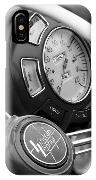 Lincoln Continental iPhone Case - 1940 Lincoln-zephyr Continental Cabriolet Steering Wheel Emblem by Jill Reger