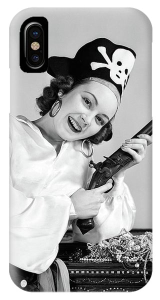 Child Actress iPhone Case - 1940s Woman Wearing Pirate Costume by Vintage Images