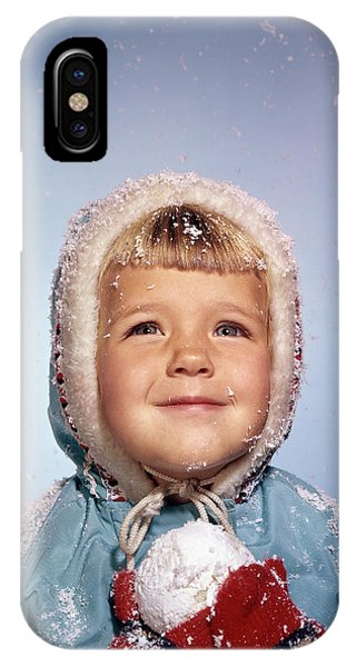 Knit Hat iPhone Case - 1960s Little Girl Holding Snow Ball by Vintage Images