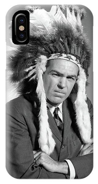 1960s Portrait Man Wearing Indian Chief IPhone Case