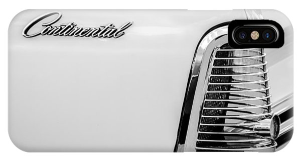 Lincoln Continental iPhone Case - 1963 Lincoln Continental Taillight Emblem -0905bw by Jill Reger