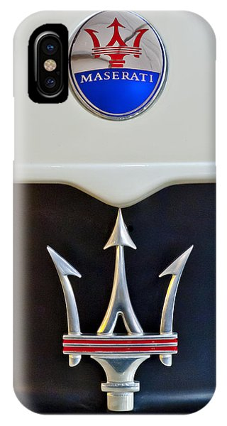 IPhone Case featuring the photograph 2005 Maserati Mc12 Hood Emblem by Jill Reger