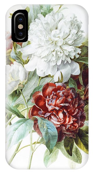 Redoute iPhone Case - A Bouquet Of Red Pink And White Peonies by Pierre Joseph Redoute