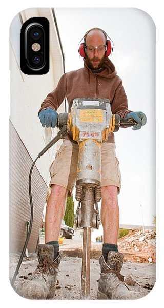 A Builder Using A Jack Hammer IPhone Case