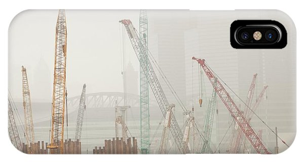 Hong Kong iPhone Case - A Construction Site In Hong Kong by Ashley Cooper