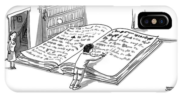 A Man Is Writing In A Huge Book On The Floor IPhone Case