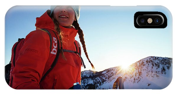Knit Hat iPhone Case - A Woman Backcountry Skiing by Mike Schirf