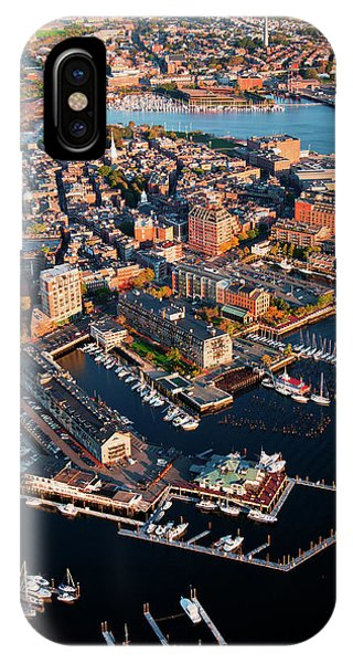 Zakim Bridge iPhone Case - Aerial Morning View Of Harbor by Panoramic Images