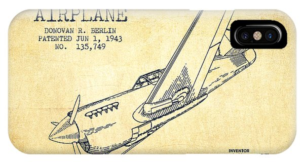 Airplane iPhone Case - Airplane Patent Drawing From 1943-vintage by Aged Pixel
