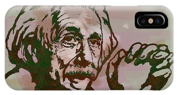 Developed iPhone Case - Albert Einstei - Pop Stylised Art Sketch Poster by Kim Wang