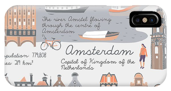 Cycling iPhone Case - Amsterdam, Print Design by Lavandaart