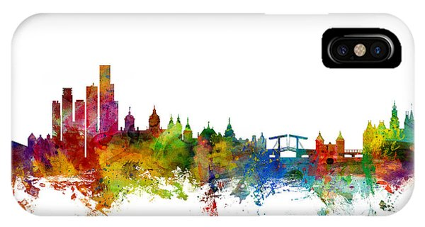 Swiss iPhone Case - Amsterdam The Netherlands Skyline by Michael Tompsett