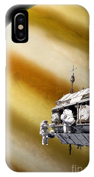 International Space Station iPhone Case - Astronauts Performing Work On A Space by Marc Ward