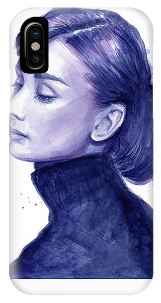 Celebrity iPhone Case - Audrey Hepburn Portrait by Olga Shvartsur