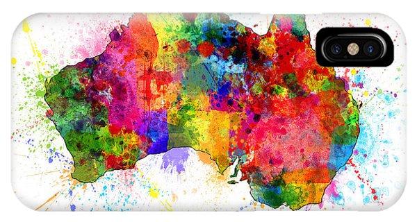 Victoria iPhone Case - Australia Paint Splashes Map by Michael Tompsett