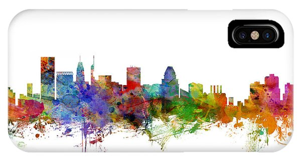 United States iPhone Case - Baltimore Maryland Skyline by Michael Tompsett