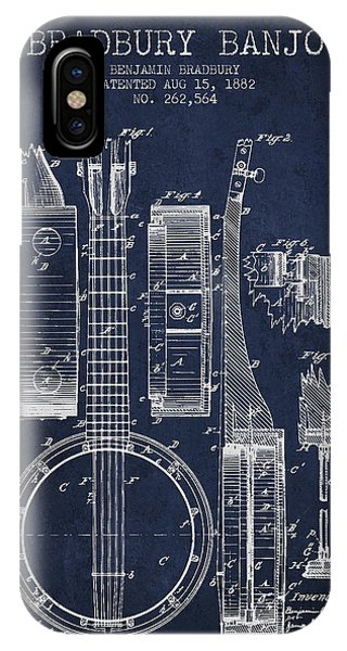 Banjo Patent Drawing From 1882 - Blue IPhone Case