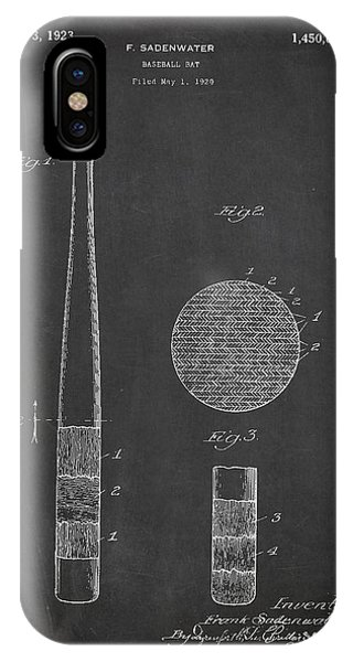 Baseball Bats iPhone Case - Baseball Bat Patent Drawing From 1920 by Aged Pixel