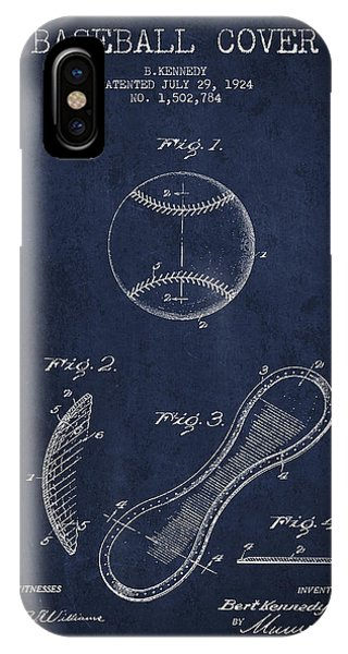 Baseball Bats iPhone Case - Baseball Cover Patent Drawing From 1924 by Aged Pixel