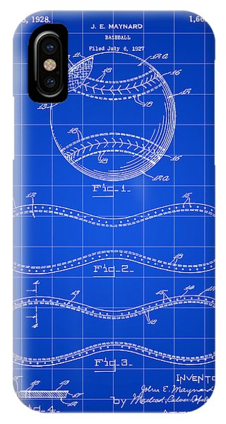 Baseball Patent 1927 - Blue IPhone Case