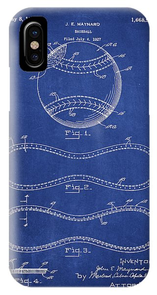 Baseball Bats iPhone Case - Baseball Patent Drawing From 1927 by Aged Pixel