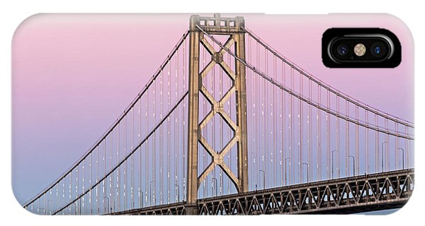 IPhone Case featuring the photograph Bay Bridge Lights At Sunset by Kate Brown