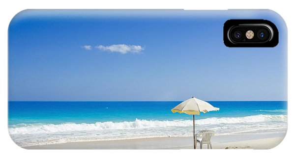 Beach Chair And Umbrella On Idyllic Tropical Sand IPhone Case