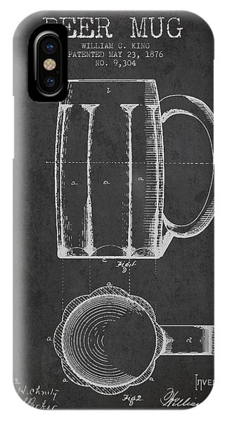 Bar iPhone Case - Beer Mug Patent From 1876 - Dark by Aged Pixel
