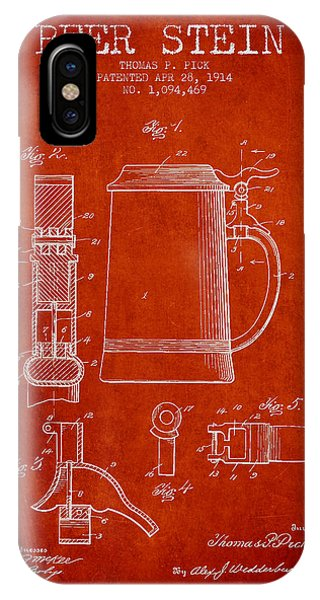 Beer Stein Patent From 1914 - Red IPhone Case