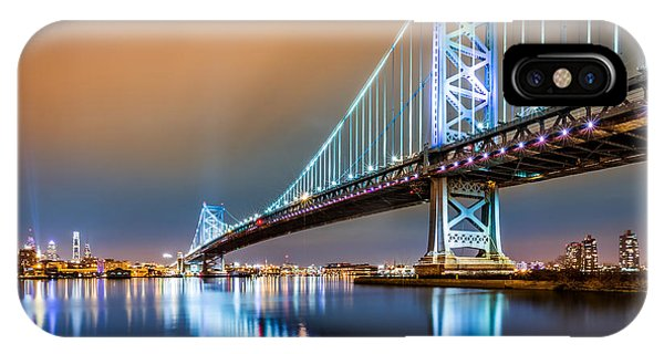Ben Franklin Bridge And Philadelphia Skyline By Night IPhone Case