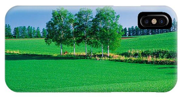 Treeline iPhone Case - Biei-cho Hokkaido Japan by Panoramic Images