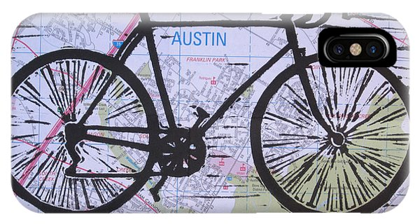 Bike 8 On Map Phone Case by William Cauthern