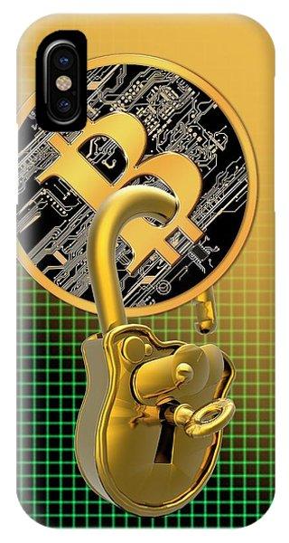 Bitcoin And Padlock IPhone Case